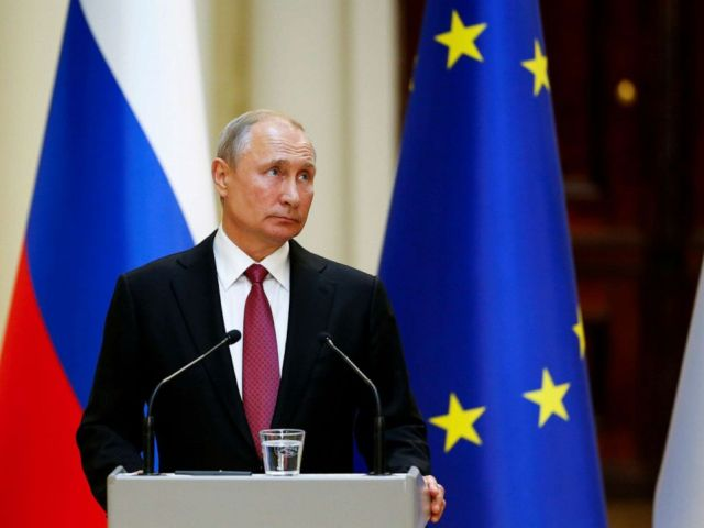 PHOTO: Russian President Vladimir Putin looks on during a news conference in Helsinki, Finland, Aug. 21, 2019.