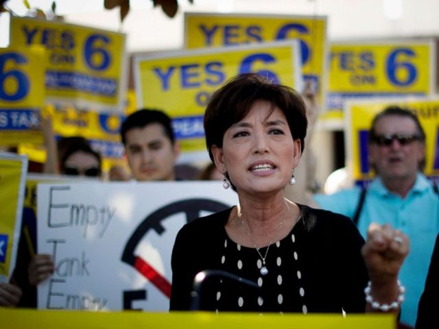 PHOTO: Young Kim, running for a U.S. House seat in the 39th District in California, speaks at a anti-gas tax rally in Fullerton, Calif., Oct. 1, 2018. Kim is trying to become the first Korean-American woman elected to Congress.