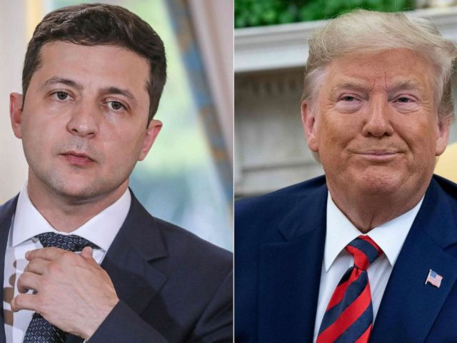 PHOTO: Ukraines President Volodymyr Zelensky, left, and President Donald Trump, right.