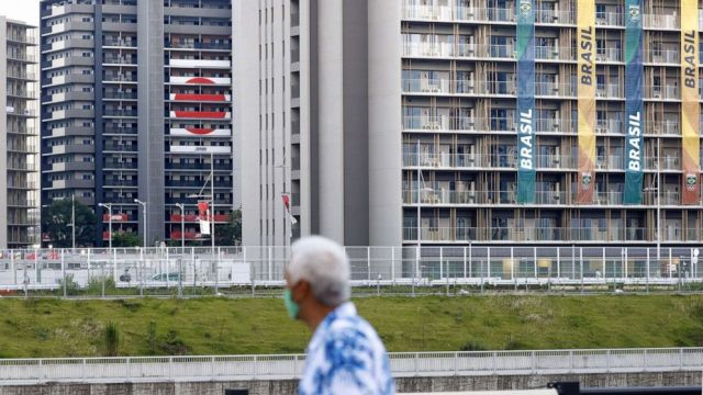 PHOTO: Residential buildings in the athletes' village for the Tokyo Olympics stand in the Japanese capital on July 14, 2021.