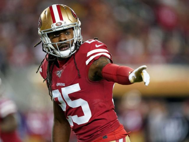 PHOTO: Cornerback Richard Sherman #25 of the San Francisco 49ers lines up during the first quarter of the game against the Green Bay Packers at Levis Stadium, Nov. 24, 2019, in Santa Clara, Calif.