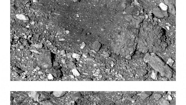 Esta combinación de imágenes de 2019 y 2021 puestas a disposición por la NASA muestra cómo cambió la superficie local de Bennu después de que la nave espacial OSIRIS-REx tomó una muestra del asteroide el 20 de octubre de 2020. La imagen anterior, arriba, fue tomada el 7 de marzo. 2019, y el b