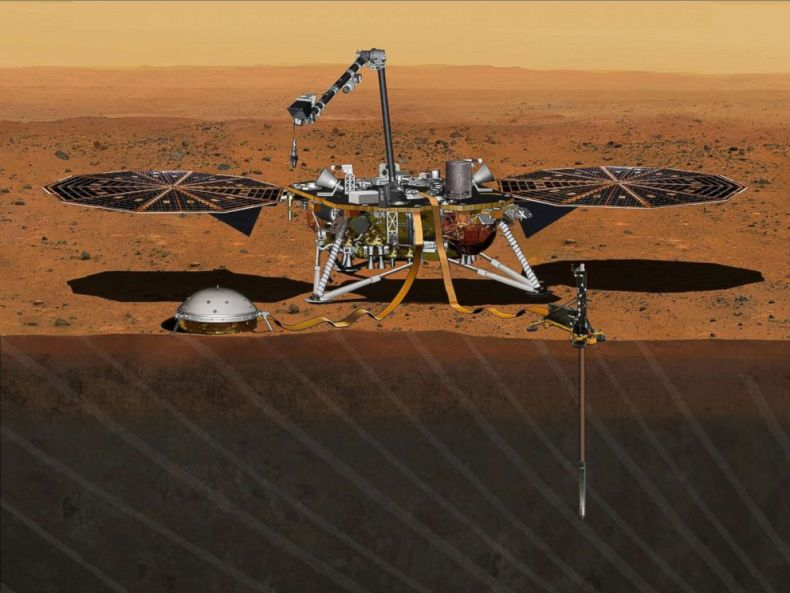 PHOTO: The NASA Martian lander InSight dedicated to investigating the deep interior of Mars is seen in an undated artists rendering.