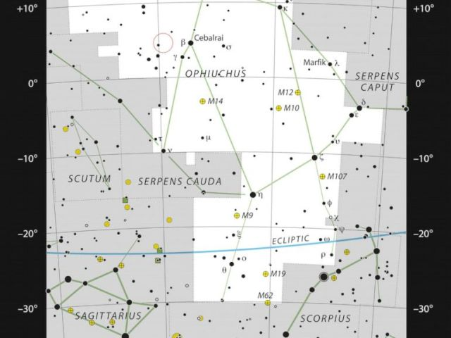 PHOTO: This chart shows the location of Barnards Star within the constellation of Ophiuchus, straddling the celestial equator, and marks most of the stars visible to the unaided eye on a clear dark night.