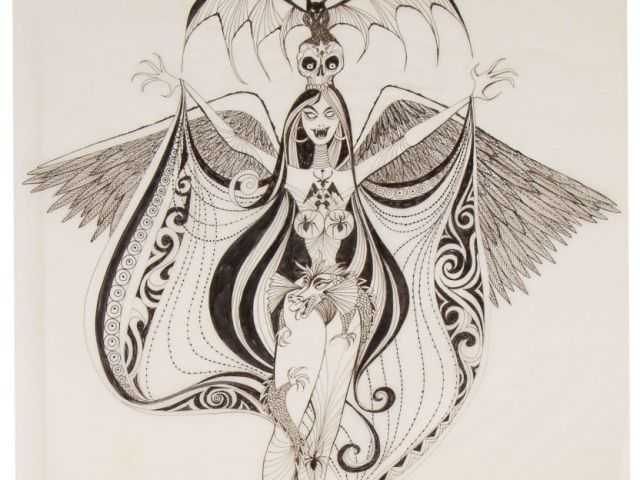 PHOTO:A sketch of a Weird Mistress of Evil was originally part of Walt Disneys idea for The Museum of the Weird, at Disneylands Haunted Mansion attraction.