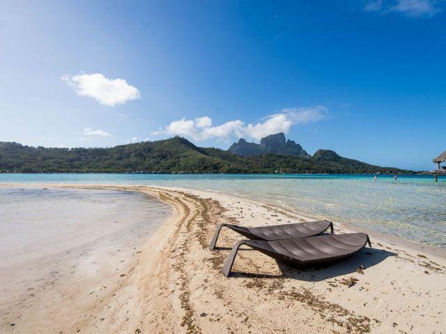 PHOTO: Beach at Sofitel Bora Bora Private Island.