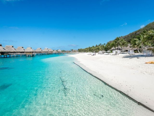 PHOTO: The beach at Conrad Bora Bora Nui.