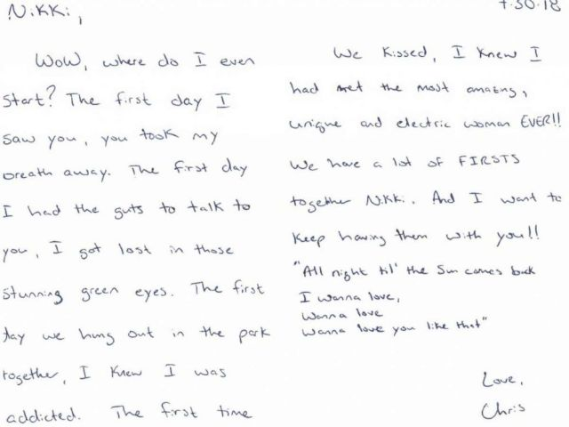 PHOTO: In a letter dated July 30 to his mistress Nichol Kessinger, Chris Watts described her as the most amazing, unique and electric woman EVER only weeks before he murdered his wife and children.