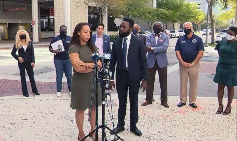 PHOTO: LaToya Ratlieff talks about being shot by police with rubber bullet at Black Lives Matter protest in May of 2020, during a press conference on Feb. 26, 2021, in Fort Lauderdale, Fla.
