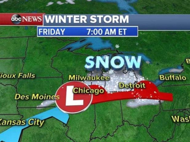 The storm is hitting Milwaukee, Chicago and Detroit on Friday morning with heavy snow.
