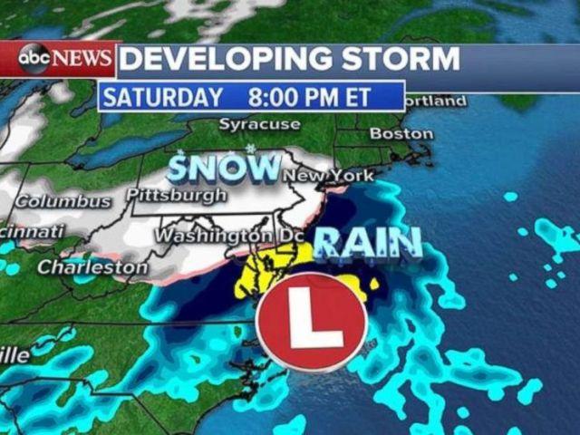 Snow will move into the New York City region around 8 p.m. on Saturday.
