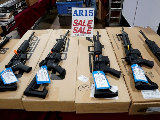 PHOTO: AR-15 rifles are displayed for sale at the Guntoberfest gun show in Oaks, Pa., Oct. 6, 2017.