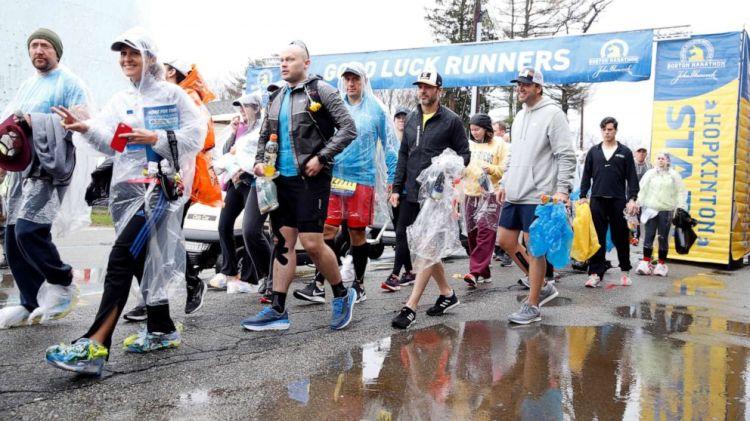 Runners prepare for the 2019 Boston Marathon in Boston, April 15, 2019.
