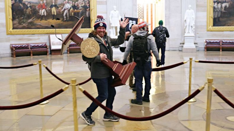 PHOTO: Protesters enter the U.S. Capitol Building on Jan. 06, 2021, in Washington, D.C. Adam Johnson is being held Pinellas County Jail.