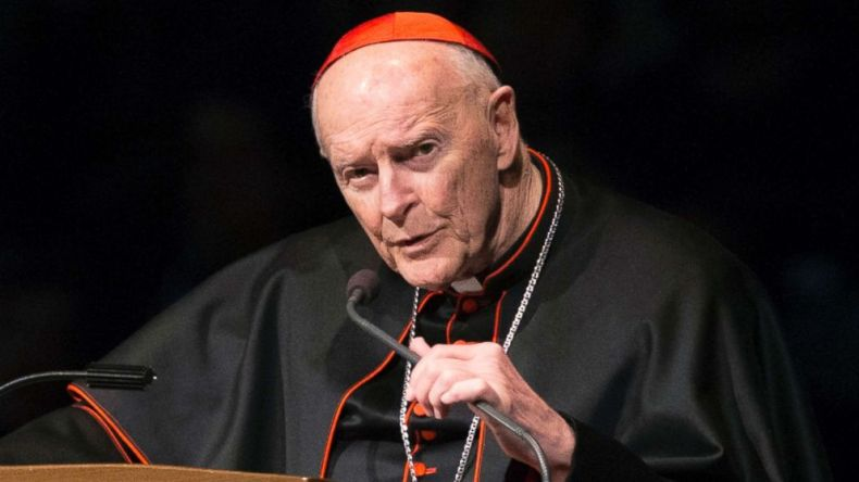 Cardinal Theodore Edgar McCarrick speaks during a memorial service in South Bend, Ind., March 4, 2015.
