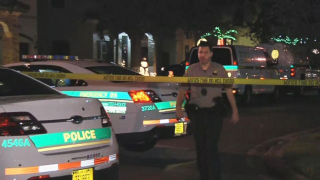 PHOTO: Police cordon off the scene in Miami-Dade County where a Coast Guard serviceman allegedly shot and killed his wife and son before killing himself, Dec. 16, 2018. His 8-year-old daughter was also critically wounded in the shooting.