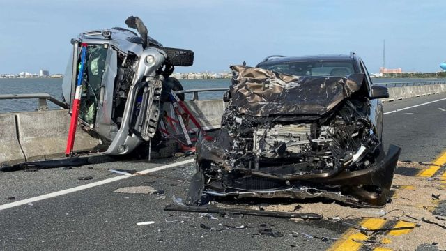 PHOTO: Wreckage from a car accident on the Route 90 bridge in Ocean City, Md., May 2, 2021.