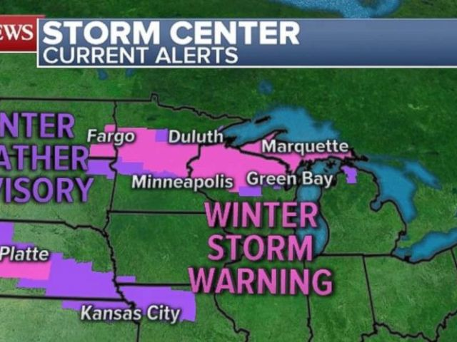 A winter storm warning is in place from Fargo, through the Twin Cities, to Green Bay on Saturday.