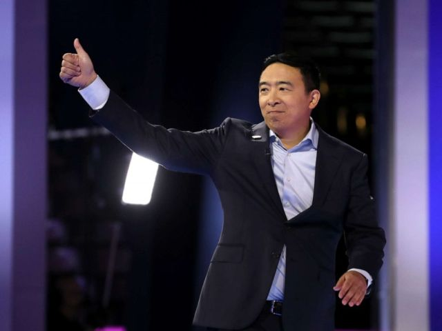 PHOTO: Democratic presidential candidate Andrew Yang is introduced before the Democratic Presidential Debate at Texas Southern Universitys Health and PE Center on Sept. 12, 2019, in Houston.