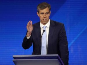 PHOTO: Democratic presidential candidate Beto ORourke speaks during the Democratic Presidential Debate at Texas Southern Universitys Health and PE Center on Sept. 12, 2019, in Houston.