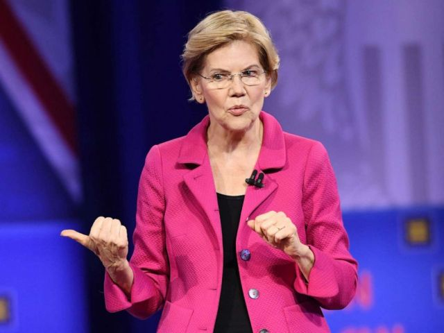 PHOTO: Democratic presidential hopeful Massachusetts Senator Elizabeth Warren gestures as she speaks during a town hall devoted to LGBTQ issues hosted by CNN and the Human rights Campaign Foundation at The Novo in Los Angeles, Oct. 10, 2019.