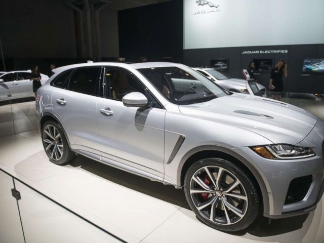 PHOTO: The Jaguar Land Rover Automotive Plc F-Pace SVR crossover vehicle is displayed during the 2018 New York International Auto Show (NYIAS) in New York, March 29, 2018.