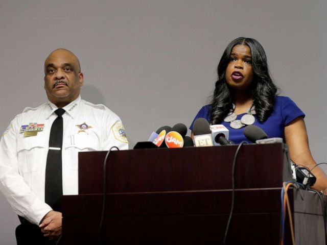 PHOTO: Kim Foxx, Cook County Attorney, speaks right, at a news conference as Chicago Commandant Eddie Johnson listens to Chicago, February 22, 2019.