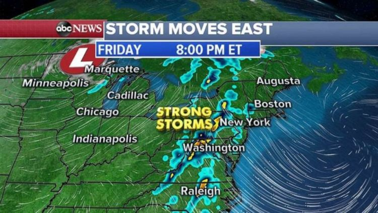 Strong storms will move into the Northeast late in the day Friday.