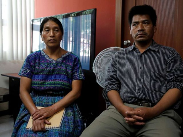 PHOTO: Dominga Vicente and her husband Mario, relatives of Claudia Gomez, a Guatemalan immigrant killed by a U.S. Border Patrol officer on Wednesday while entering illegally to Texas, hold a news conference in Guatemala City, Guatemala, May 25, 2018.