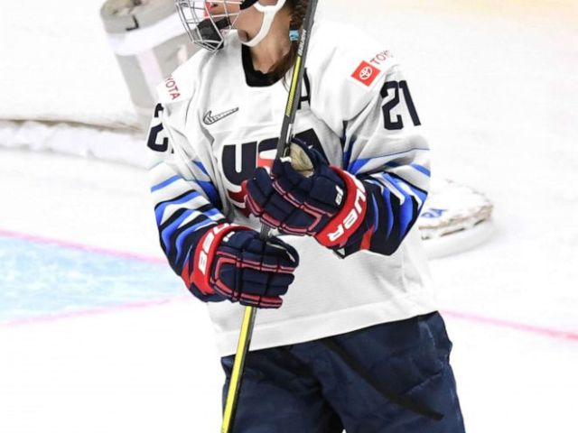 PHOTO: Hilary Knight of the U.S. celebrates a goal during the 2019 IIHF Ice Hockey Womens World Championship match between Finland and the USA in Espoo, Finland, April 04, 2019.