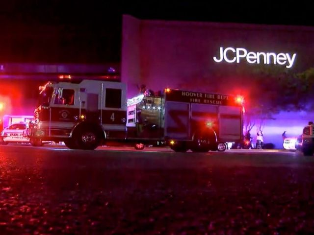 PHOTO: This Thursday, Nov. 22, 2018, image made from a video provided by ABC 33/40, authorities respond after reports of shots fired at the Riverchase Galleria in Hoover, a Birmingham, Ala., suburb.