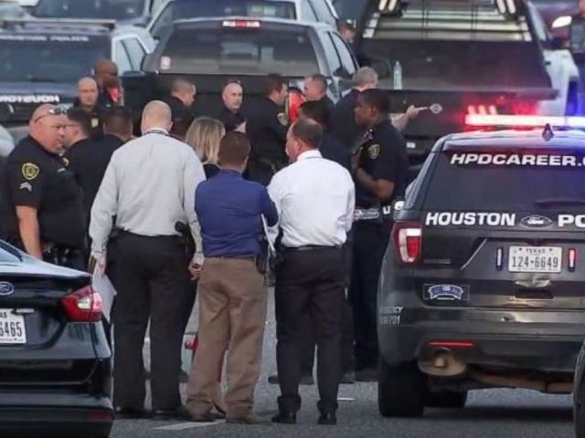PHOTO: Houston police are searching for two men after a suspect opened fire and killed two occupants of a car on Interstate 10 in Houston on Thursday, Aug. 8, 2019.