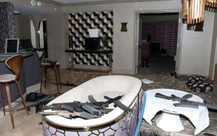 Police seized 24 guns from Paddocks suite, including AR-15 and AR-10 assault rifles with armor-piercing bullets.