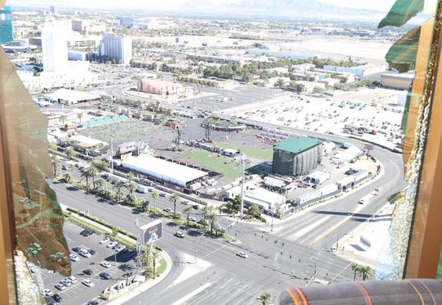 Viewpoint from where Stephan Paddock was shooting from his hotel room on the 32nd floor of the Mandalay Bay in Las Vegas.