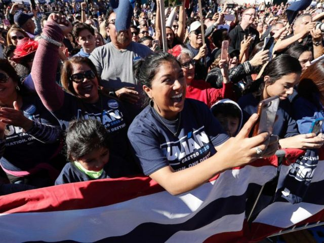PHOTO: Supporters cheer for former San Antonio Mayor and Housing and Urban Development Secretary Julian Castro at an event where he announced his decision to seek the 2020 Democratic presidential nomination, in San Antonio, Jan. 12, 2019.
