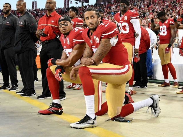 NFL PHOTO: Colin Kaepernick and Eric Reid of the San Francisco 49ers kneel in protest during the national anthem prior to playing the Los Angeles Rams at Levis Stadium, September 12, 2016, in Santa Clara, Calif.