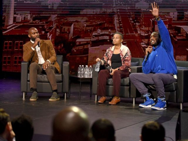 NFL PHOTO: The NFL Players Coalition, a nonprofit co-founded by Philadelphia Eagles Malcolm Jenkins, left, hosts a public forum with rapper Meek Mill, right, and Rev. Leslie D. Callahan, center, at Community College of Philadelphia, Oct. 28, 2019.