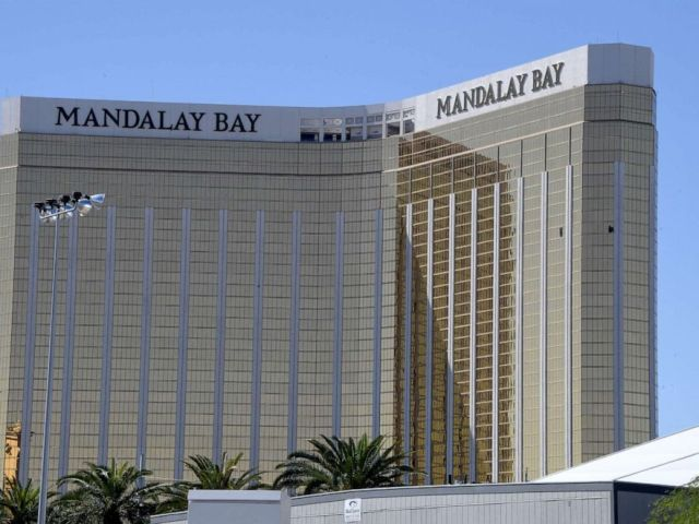 PHOTO: The damaged windows on the 32nd floor room of the Mandalay Bay hotel in Las Vegas, Oct. 2, 2017.