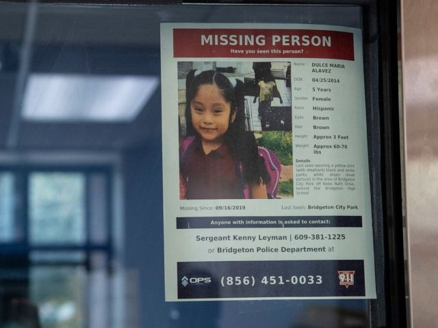 PHOTO: A missing poster of 5-year old Dulce Maria Alavez is shown posted on the window of the Bridgeton Police department in Bridgeton, N.J., September 18, 2019.