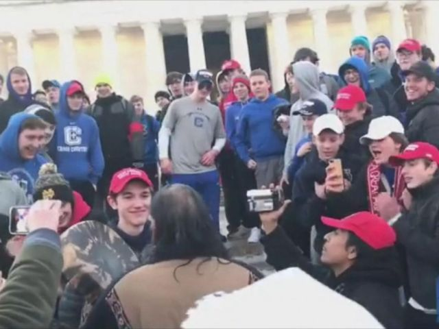 PHOTO: A diocese in Kentucky apologized Saturday, Jan. 19, 2019, after videos emerged showing students mocking Native Americans outside the Lincoln Memorial after a rally in Washington.