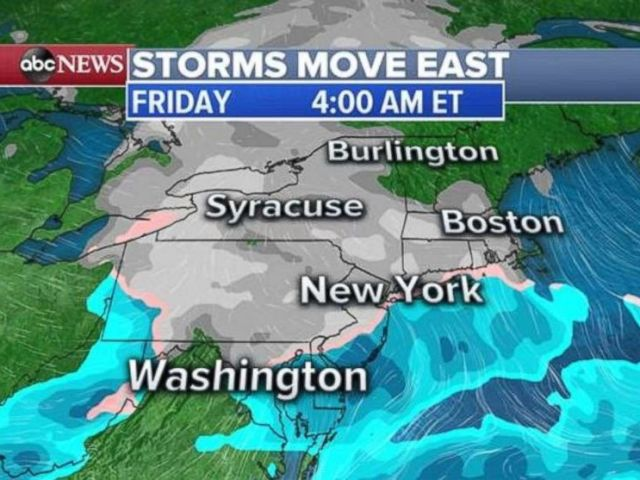 PHOTO: A first storm will move into the Northeast on Friday morning.