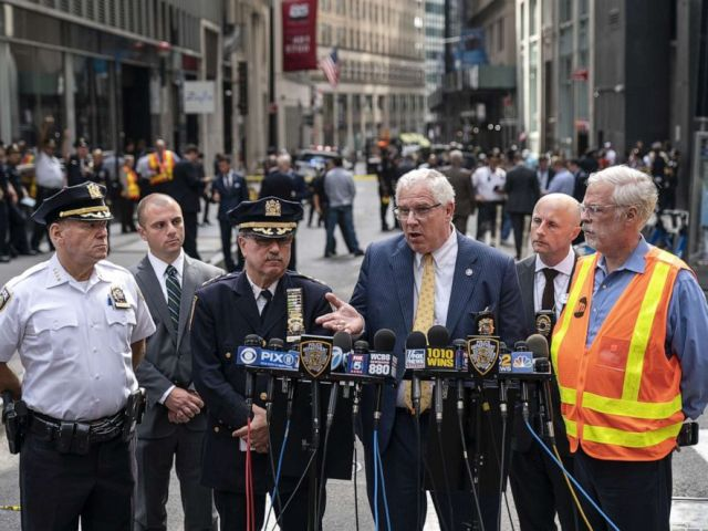 PHOTO: John Miller, Deputy Commissioner of Intelligence and Counterterrorism for the NYPD, speaks to the press near the scene of a suspicious package near the Fulton Street subway station in Lower Manhattan on August 16, 2019, in New York.