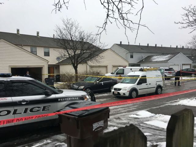 PHOTO: Police tape cordons off the area where two Westerville, Ohio, police officers were shot and killed responding to a hang-up 911 call, on Feb. 10, 2018. The officers were shot around noon after entering the residence.