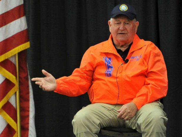 PHOTO: U.S. Agriculture Secretary Sonny Perdue speaks during a town hall meeting at the World Ag Expo, Tuesday, Feb. 13, 2018, in Tulare, Calif.
