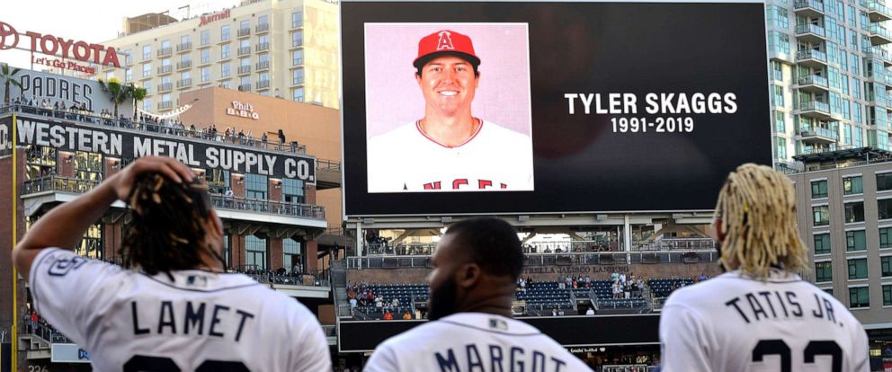 PHOTO: The San Diego Padres pay tribute to Los Angeles Angels pitcher Tyler Skaggs before a game against the San Francisco Giants at Petco Park.