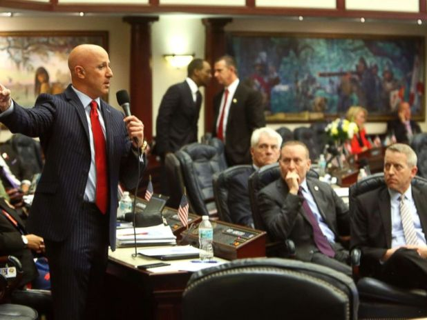 PHOTO: Florida State Rep. Joseph Abruzzo, left, debates the gun/school safety bill on the floor of the House, March 7, 2018 in Tallahassee.