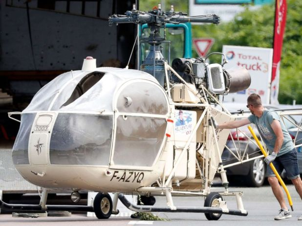 PHOTO: Investigators transport an Alouette II helicopter allegedly abandoned by French prisoner Redoine Faid and alleged accomplices after his escape from Reau prison, in Gonesse, north of Paris, France, July 1, 2018. [19659004] Ian Langsdon / EPA / REX via Shutterstock </span data-recalc-dims=
