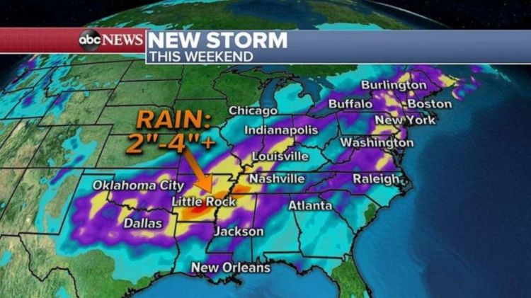 The highest rainfall totals will be in Arkansas and western Tennessee.