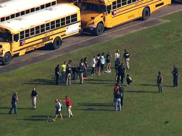 PHOTO: Santa Fe High School students leave the school after a reported shooting, May 18, 2018 in Santa Fe, Texas.