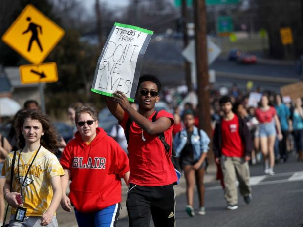 PHOTO: Students from Montgomery Blair High School march down Colesville Road in support of gun reform legislation, Feb. 21, 2018 in Silver Spring, Md.
